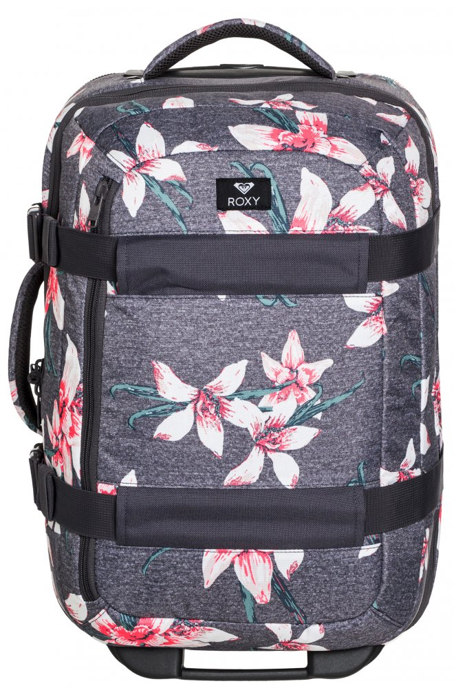 Kufr Roxy Wheelie charcoal heather flower field 30l